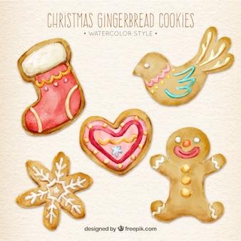 Pack of aquarelle christmas biscuits décoratifs