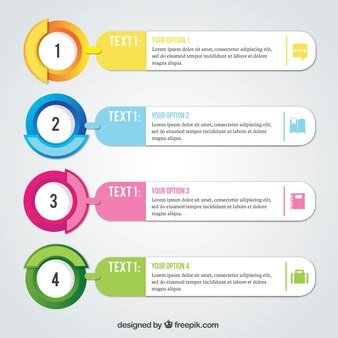 Pack réaliste de quatre options infographiques