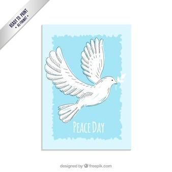 Paix carte du jour avec colombe dessinée à la main