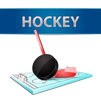 Palette de bâton de hockey et emblème d'arène de glace