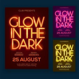 Panneau de fête nocturne ou conception d'affiche avec du texte en néon et trois options de couleurs différentes.