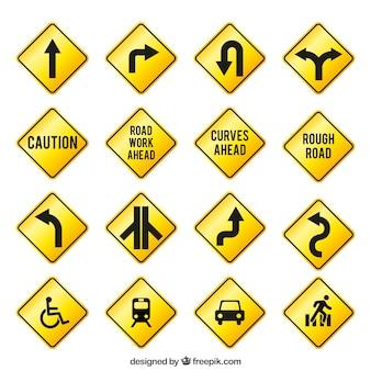 Panneaux de signalisation jaunes