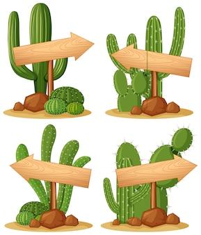Panneaux en bois dans l'illustration du jardin de cactus