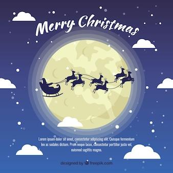 Papa Noel volant avec des rennes