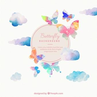 Papillons peints à la main fond