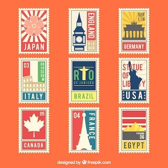 Paquet coloré de neuf timbres de ville