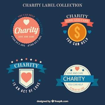 Paquet d'étiquettes de charité vintages