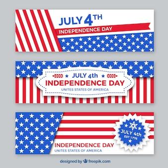 Paquet de bannières plates de l'indépendance