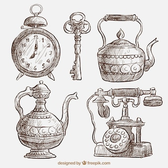 Paquet de belles esquisses d'objets anciens