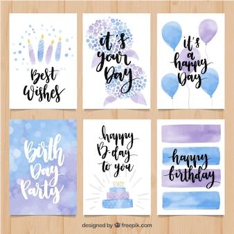 Paquet de cartes d'anniversaire d'aquarelle