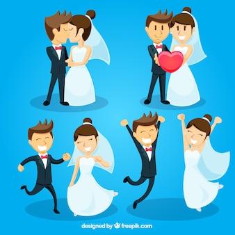 Paquet de jeunes mariés dans l'amour avec un grand sourire