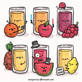 Paquet de jus et de fruits souriants