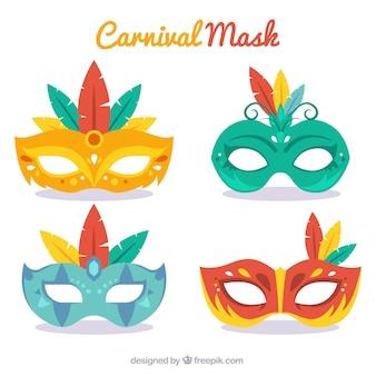 Paquet de masques élégants de design plat
