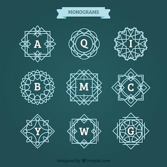Paquet de monogrammes avec des lignes