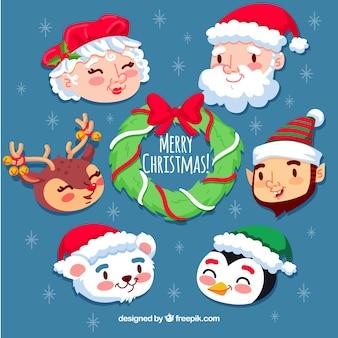 Paquet de Noël de visages souriants