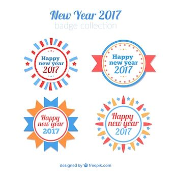 Paquet de nouvelles années 2017 badges ronds