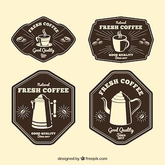 Paquet de quatre autocollants de café rétro