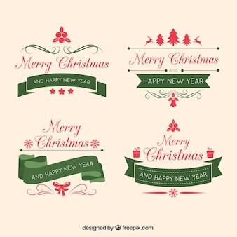 Paquet de quatre badges de Noël avec des rubans de cru