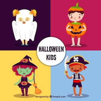 Paquet de quatre beaux personnages d'halloween
