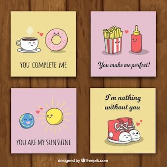 Paquet de quatre cartes d'amour avec de beaux messages