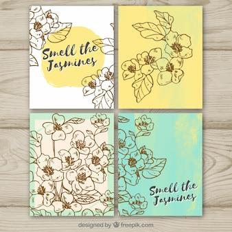 Paquet de quatre cartes jasmin dessinées à la main