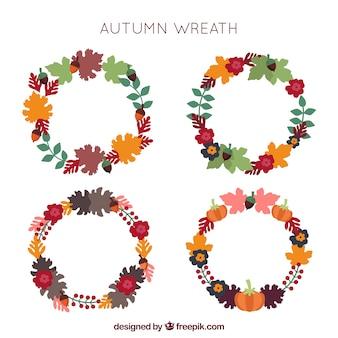 Paquet de quatre couronnes décoratives d'automne