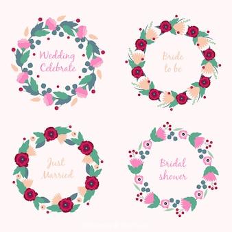 Paquet de quatre rondes mariage des cadres avec des fleurs mignonnes