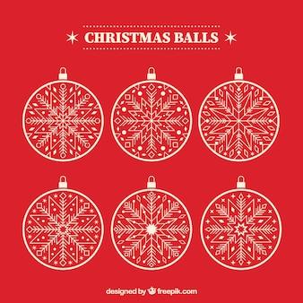 Paquet de six boules de Noël blanc
