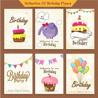 Paquet de six invitations d'anniversaire de belles