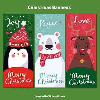 Paquet de trois bannières colorées avec des personnages de Noël