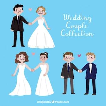 Paquet de trois jeunes mariés fiers