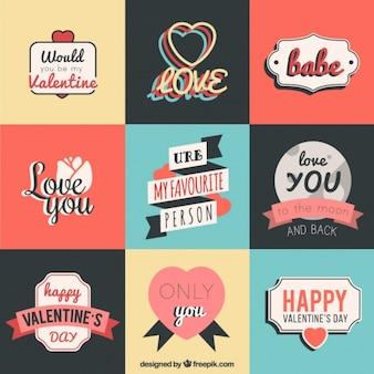 Paquet de valentine autocollants avec de beaux messages