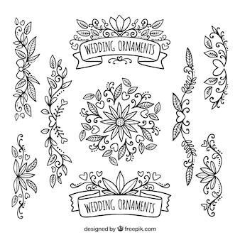 Paquet vintage d'ornements de mariage floral