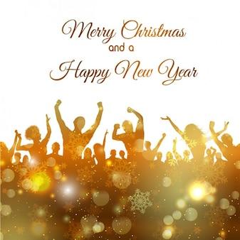 Partie de nouvelle année silhouettes dorées