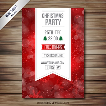 Party flyer Red christmas