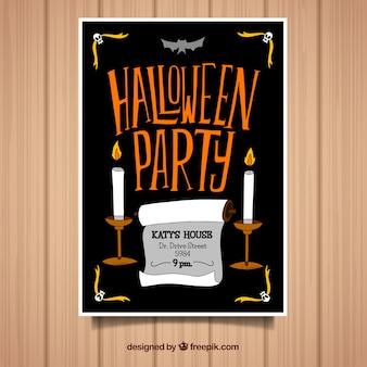 Party poster d halloween avec des bougies