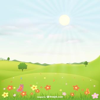 Paysage avec des fleurs