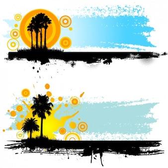 Paysage avec palmiers silhouettes