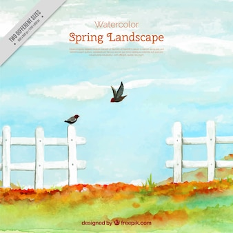 Paysage d'aquarelle avec une clôture et les oiseaux