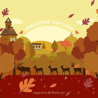 Paysage d'automne avec des cerfs