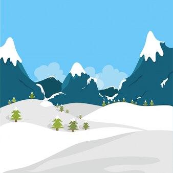Paysage d'hiver avec des champs enneigés et des montagnes.