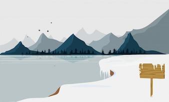 Paysage d'hiver avec neige, lac et montagne.