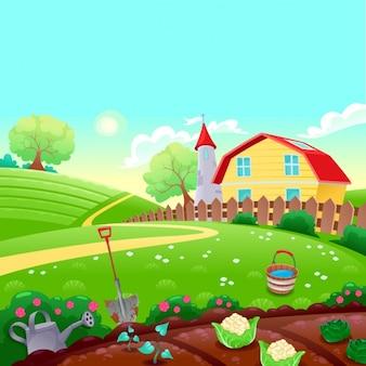 Paysage de campagne drôle avec jardin potager vecteur Cartoon illustration