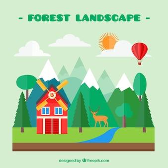 Paysage de forêt avec un moulin rouge design plat