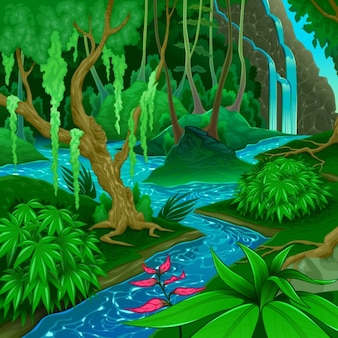 Paysage de forêt avec une rivière