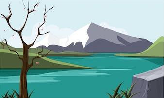 Paysage de la nature avec le lac et les montagnes.