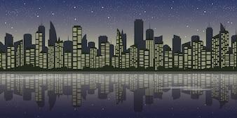 Paysage de la ville dans la vue de nuit, illustration du centre avec ciel étoilé et réflexion de l'eau