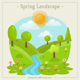 Paysage de printemps fond