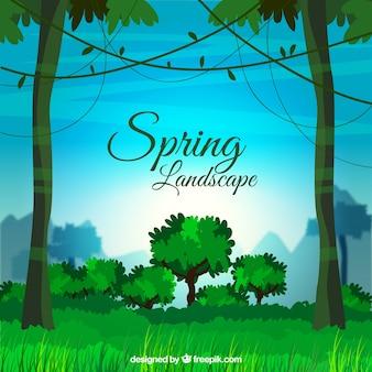 Paysage de printemps vert