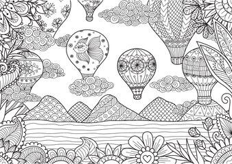 Paysage dessiné à la main avec des ballons à air chaud